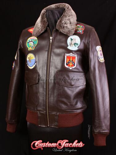 Men/'s top gun brown g-1 bomber aviateur pilote de chasse veste en cuir peau de vache
