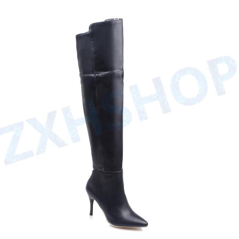 Overknee Stiefel Hoch Mit Dünnen Absätzen PU-Leder Schuhe Schuhe Schuhe Damenstiefel 3 Farben 911b88