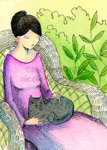 ACEO-Watercolor-Painting-and-Ink-PRINT-Quiet-Happiness-cat-pet-animal-art