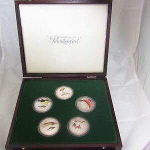 Medaillen-Paradiesvoegel-5-x-ca-50gr-Silber-925-mit-Farbenopplic