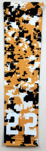 Custom Number ADULT SMALL Sports Arm Sleeve DIGITAL CAMO GOLD BLACK WHITE NEW