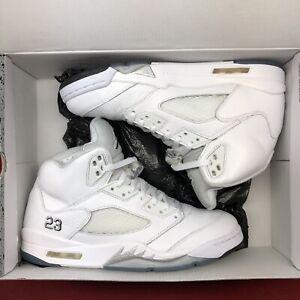 6969521cfd38 Nike Air Jordan Retro V White Metallic Silver SZ 10.5 136027 130 ...