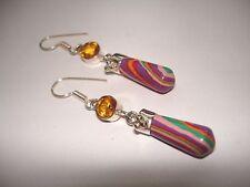"AB Rainbow Calsilica Calcite Yellow Citrine Dangle .925 Silver Earrings 2.25"""