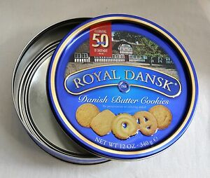 7f4bd32e5889 Empty Tin Royal Dansk Danish Butter Cookie Round Container Box Case ...