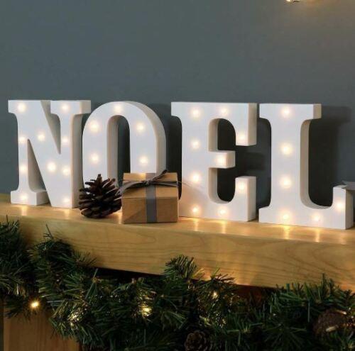 Noël noel Batterie Light Up cirque des lettres blanc chaud DEL 16 cm