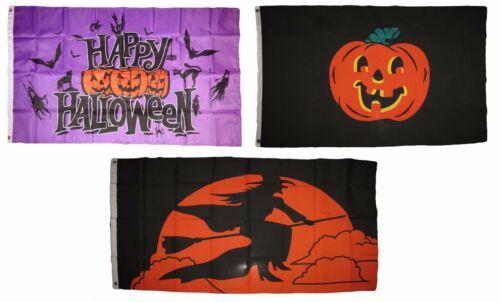 3x5 Happy Halloween 3 Pack Flag Wholesale Set #120 Combo 3/'x5/' Banner Grommets