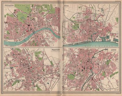 Just Northern English Cities Large 1903 Map Pure Whiteness Plans Of Newcastle Hull Bradford Leeds