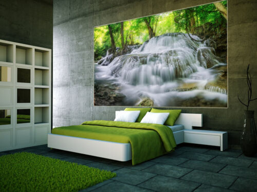 Prepasted Mural Wallpaper Wallcovering Forest Waterfall Scenery Home Decor 1060