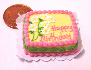 1-12-Scale-Oblong-Birthday-Cake-Dolls-Miniature-House-Kitchen-Food-Accessory-SC8