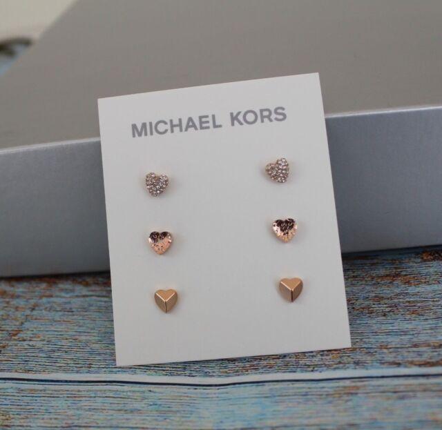 NWT Michael Kors Rose Gold tone 3 pc. Set Pavé Heart Stud Earrings MKJ7020791