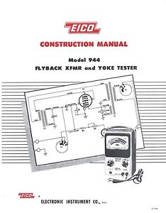 Details about EICO Model 944 Flyby Transformer and Yoke Tester Construction  Manual