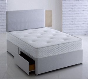 GREY MEMORY FOAM DIVAN BED SET WITH MATTRESS AND HEADBOARD 3FT 4FT6 Double 5FT