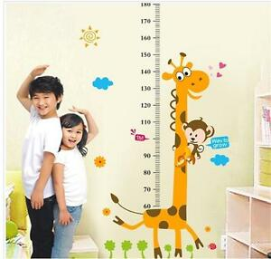 Monkey-Giraffe-Tree-Height-Chart-Measurment-Kids-Room-Wall-Decals-Stickers-HS3