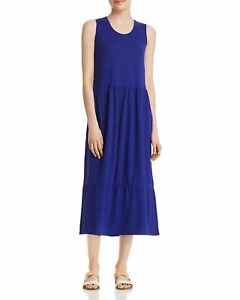 Eileen-Fisher-Scooped-Neck-Hemp-amp-Cotton-Midi-Dress-Blue-Violet-LRG-NWT