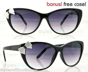 NEW-Cat-Eye-Sunglasses-Womens-Girl-Hello-Kitty-Style-Black-Frame-White-Bow-Tie