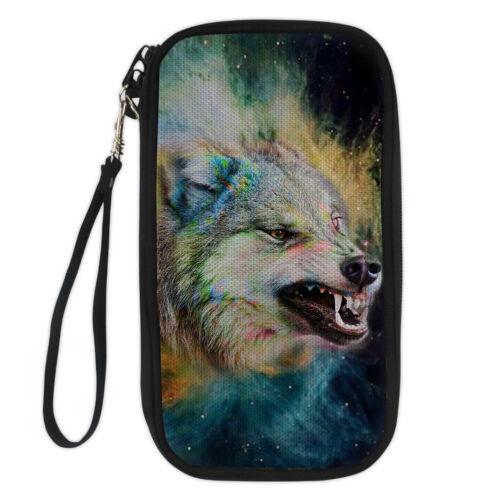 Hommes Wolf Designs Détenteurs d/'Un Passeport Voyage épaule Portefeuille carte d/'identité Téléphone Sac à Main Sac