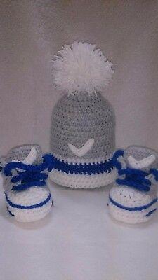 Zapatos de Bebé de Ganchillo hecho a mano y sombrero entrenadores Abotinados Botas Cordones