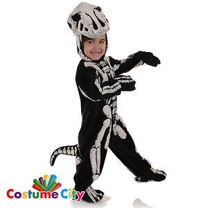 Image is loading Childrens-Toddlers-Dinosaur-T-Rex-Skeleton-Halloween-Fancy-  sc 1 st  eBay & Childrens Toddlers Dinosaur T-Rex Skeleton Halloween Fancy Dress ...