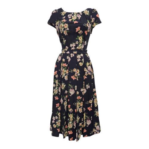 1940s Dresses   40s Dress, Swing Dress   New Navy Blue Floral WWII 1930s 40s Vtg style Swing Tea Dress £34.99 AT vintagedancer.com