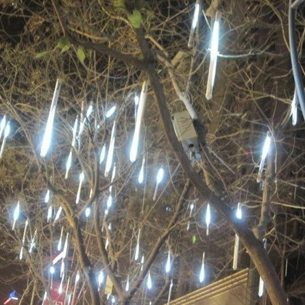 Details About 30cm 144 Led Lights Meteor Shower Rain 8 Solar Snowfall Tree Outdoor Light
