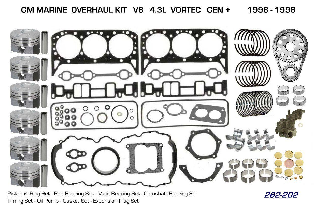 OMC COBRA V6/4.3L - 432BPL, 434BPL, 43BPL  Kolben & II Lager Ueberholung Stage II & f27bae