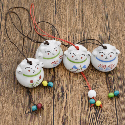 Japanese Ceramic Cute Cat Pattern Wind Chimes Outdoor Bell Home Lovely Decor