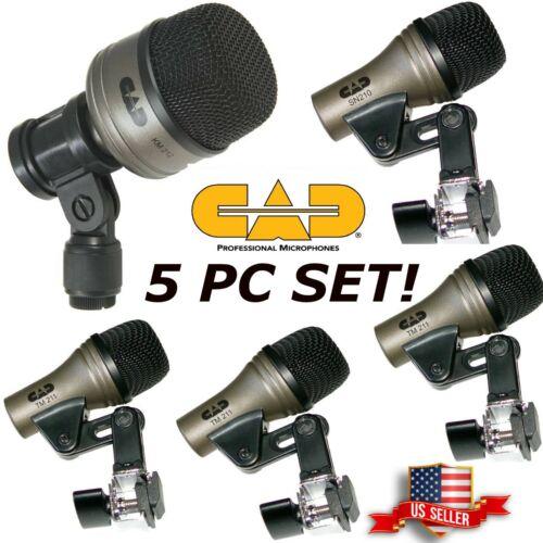 Drum Mic Set Bass+Snare+Tom Microphone 5 Piece Kit CAD PRO KM212 SN210 3-TM211