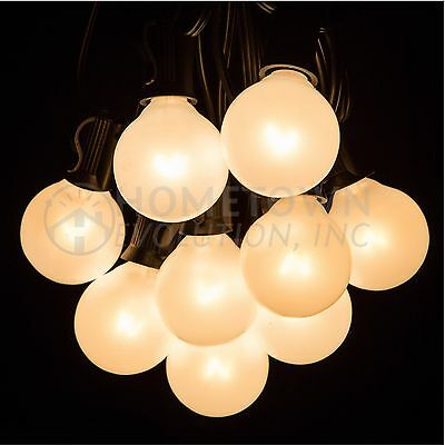 G40 White Pearl Outdoor Globe Patio String Lights (25', 50' and 100' Lengths)