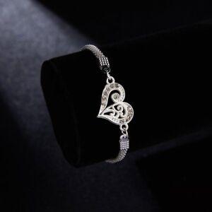 057c3c69f Image is loading Fashion-Heart-Silver-Bracelets-Wristlet-Bangle-Jewelry -Charm-