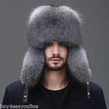 Men Winter Real Fox Fur Trapper Hat Russian Ushanka Warm Ski Outdoor Cap F12