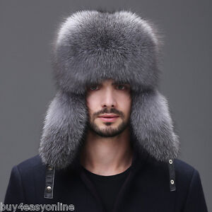 164513f6cd6 Men Winter Real Fox Fur Trapper Hat Russia Ushanka Warm Ski Outdoor ...