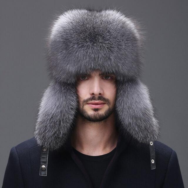 Men Winter Real Fox Fur Trapper Hat Russia Ushanka Warm Ski Outdoor Cap US 665834bcced