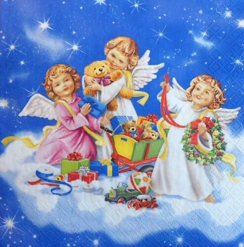 4 X Solo Papel Servilletas Navidad Ángeles con juguetes Decoupage Artesanía tabla 43