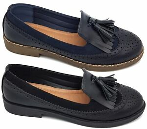 WOMENS GIRLS NEW FLAT BLACK LOAFERS BROGUE TASTLE SLIP ON SHOES SIZE 3,4,5,6,7,