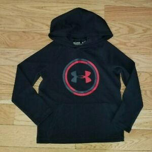 Boys-UNDER-ARMOUR-Long-Sleeve-Hooded-Pullover-Top-Loose-Fit-YXS-Youth-X-Small
