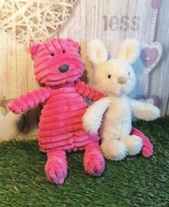 Jellycat-Pink-Cordy-Roy-Cat-10-034-amp-Cream-Cute-Bunny-Rabbit-9-5-034-Plush-Toy-Bundle