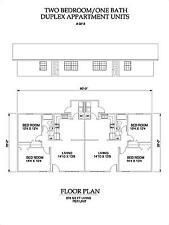 Two bedroom One bath duplex Apartment 818 sq ft per unit plan