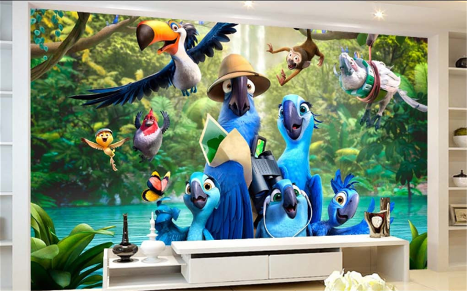 3D Jungle Parrot 623 Wallpaper Mural Paper Wall Print Wallpaper Murals UK Carly