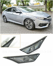 For 16 21 Honda Civic Crystal Smoke Bumper Reflector Side Marker Lights Lamps