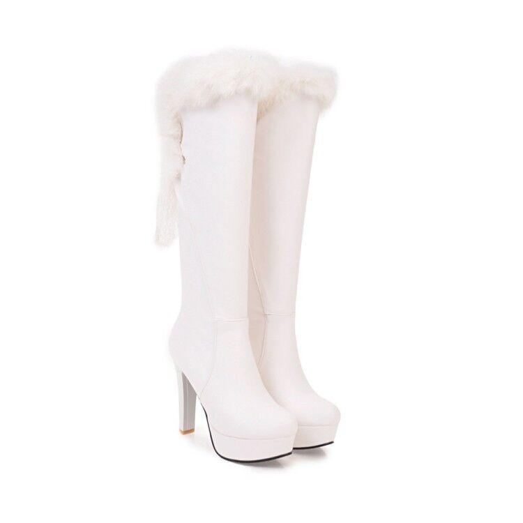 donna Fur Top Knee High stivali Platform Stilettos Winter scarpe