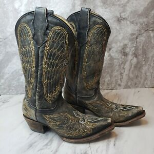 Corral-Distressed-Leather-Wings-Cross-Cowboy-Boots-Teen-Size-2-5-T-Style-A1029