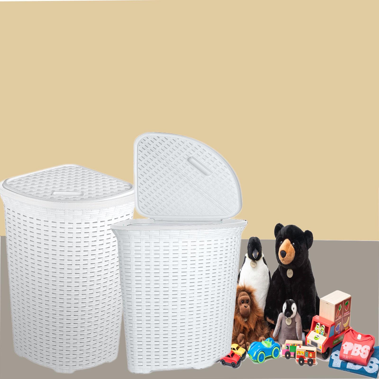 Large Corner Rattan Wicker Laundry Basket Cloth Lining W