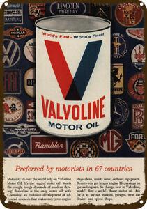 1965 VALVOLINE MOTOR OIL Vintage Look REPLICA METAL SIGN PORSCHE MG JAGUAR FORD