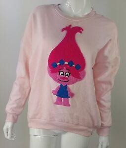 Details about Trolls Poppy Womens Medium Pink Textured Sweatshirt NWT Dreamworks Cotton Blend