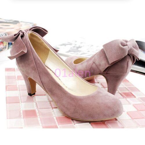 Womens Office Kitten Heel Bowtie Lolita Loafer Slip on Suede Sweet Shoes Pumps