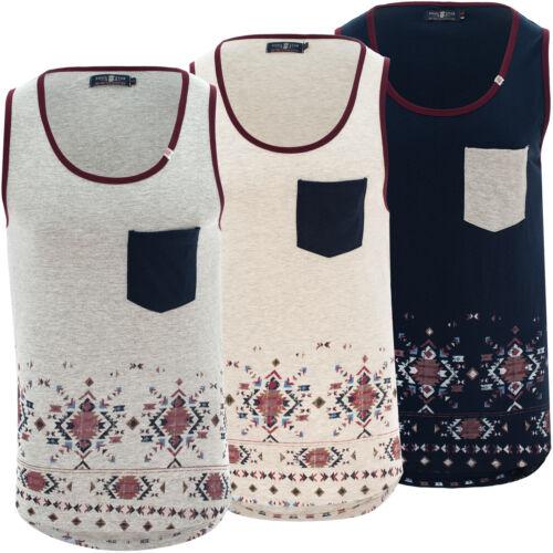 Mens Vest Aztec Print Casual Summer Holiday Boys Tribal Tank Top Size S-XXL