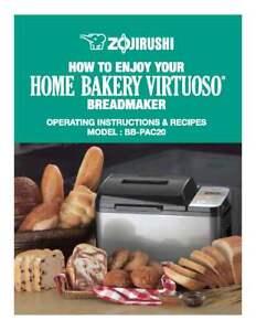 Zojirushi Bread Maker Machine Directions Instruction Manual w Recipes BB-CEC20
