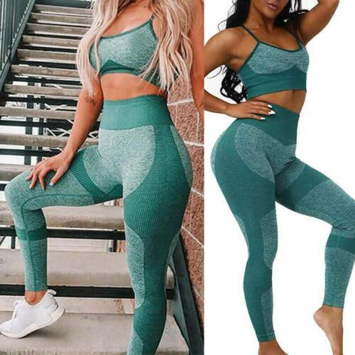 Details about  /Women/'s 2Pcs Yoga Suit Seamless Gym Pants Leggings+Top Bra Sports Gym Yoga Sets