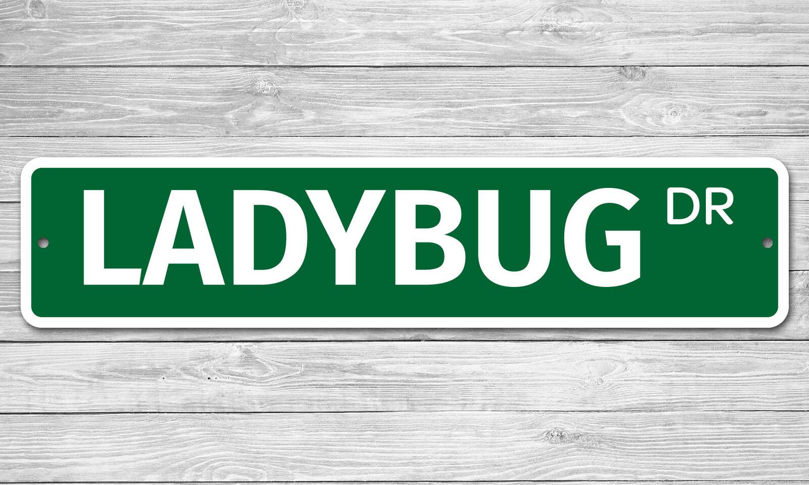 """6497 SS Ladybug 4/"""" x 18/"""" Novelty Street Sign Aluminum"""