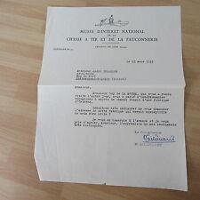 LETTRE TAPUSCRITE DE HENRI DE LINARES 1953 CHASSE FAUCONNERIE